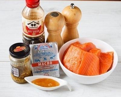 Запеченый лосось в горчично-медовом соусе